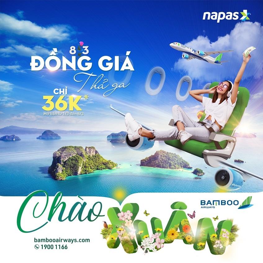 Bamboo Airways mở bán vé 36.000 đồng khi thanh toán qua NAPAS