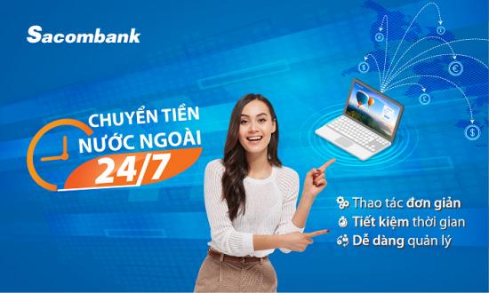 Chuyển tiền ra nước ngoài qua Sacombank internet banking với mức phí cạnh tranh