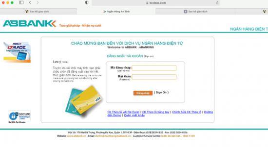 ABBANK khuyến cáo khách hàng về website lừa đảo