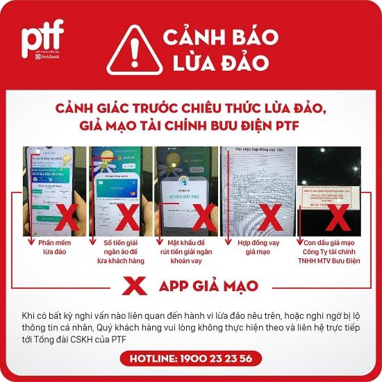 Cảnh báo hình thức lừa đảo, mạo danh Công ty tài chính Bưu Điện PTF