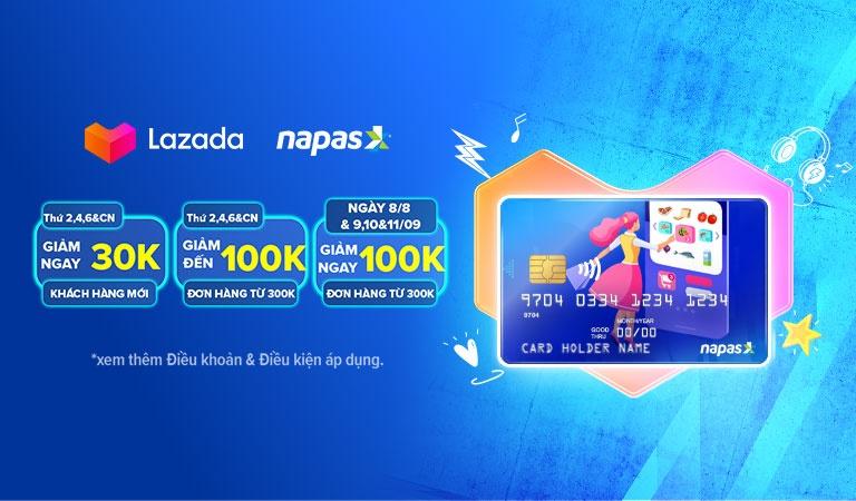 Ngập tràn ưu đãi trên Lazada cho khách hàng thanh toán bằng thẻ nội địa Napas