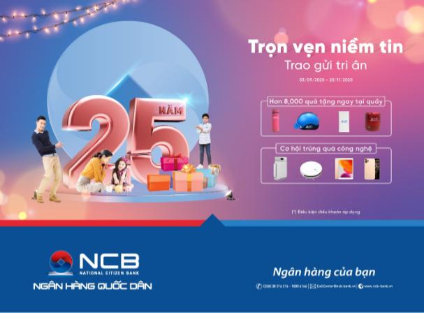 NCB dành hàng nghìn quà tặng cho khách hàng nhân dịp sinh nhật 25 năm