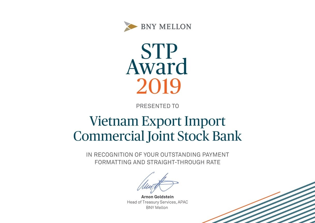 Eximbank được Bank of New York Mellon trao giải thưởng STP Award