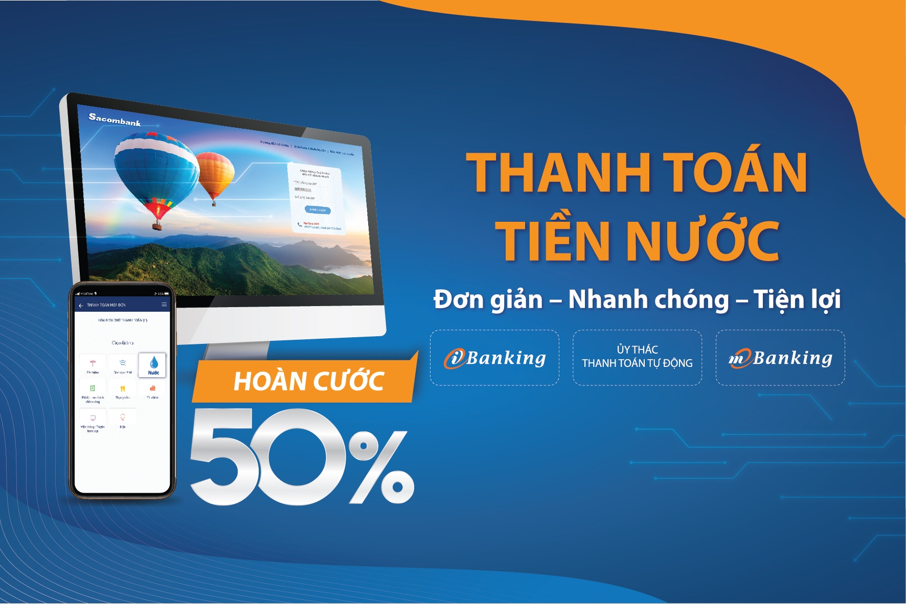 thanh toan tien nuoc hoan cuoc 50 vo i sacombank