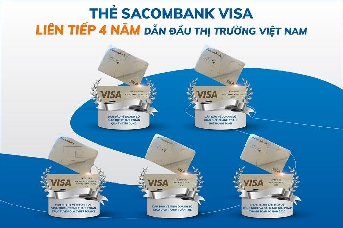 the sacombank visa lien tiep 4 nam dan dau thi truong viet nam