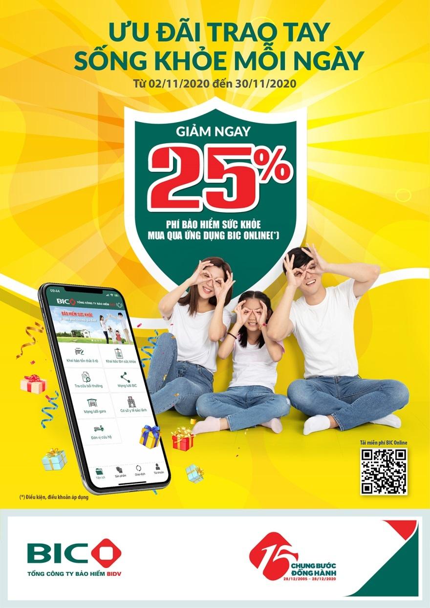 tai app bic online nhan uu dai 25 bao hiem suc khoe