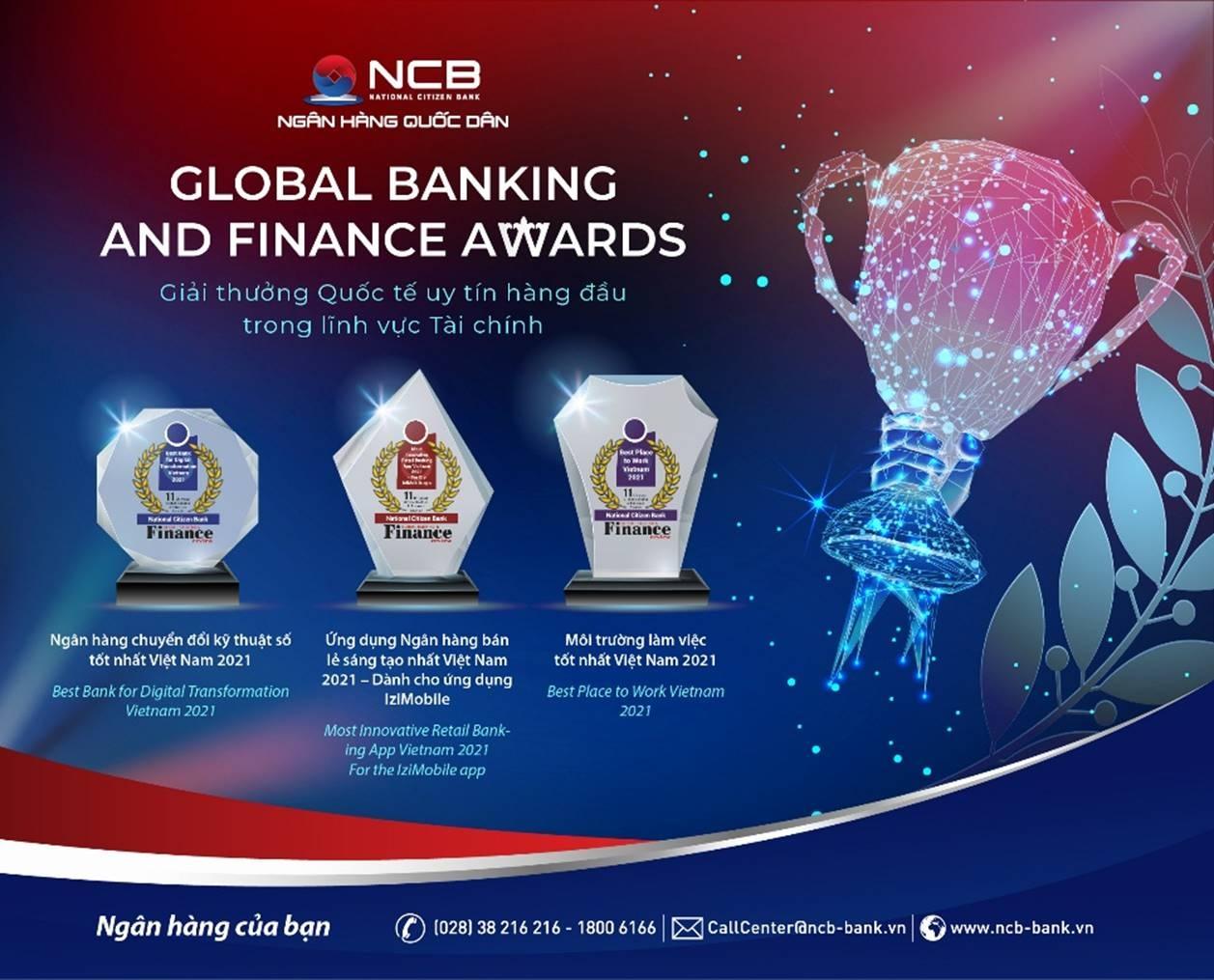 ncb nhan 3 giai thuong quoc te tai global banking finance awards