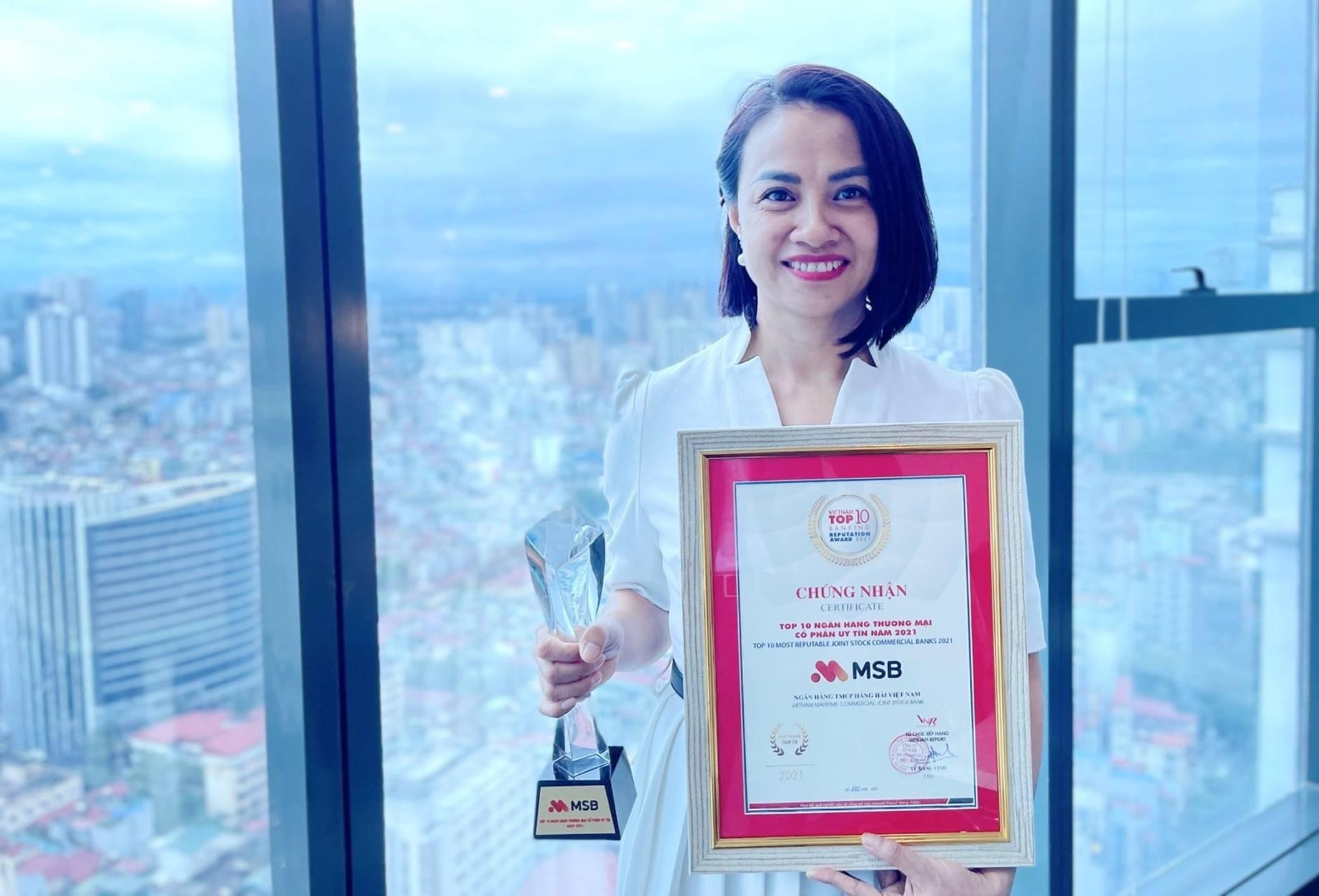MSB vào Top 10 ngân hàng thương mại cổ phần uy tín nhất Việt Nam