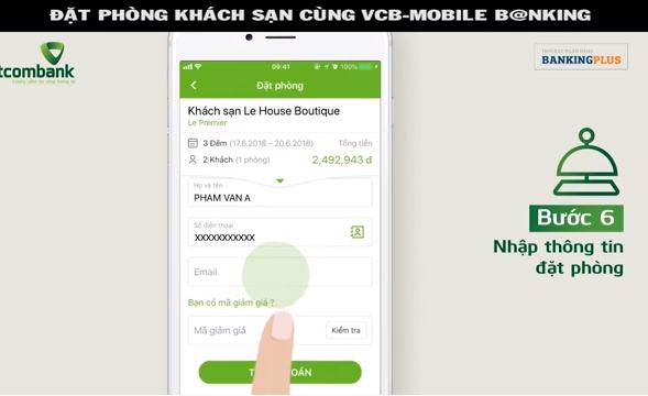 Đặt phòng khách sạn cùng VCB - Mobile B@nking