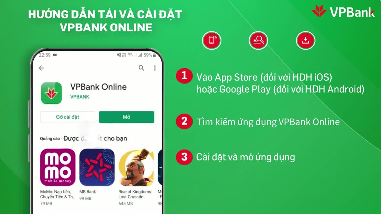 Hướng dẫn tải và cài đặt ứng dụng VPBank Online