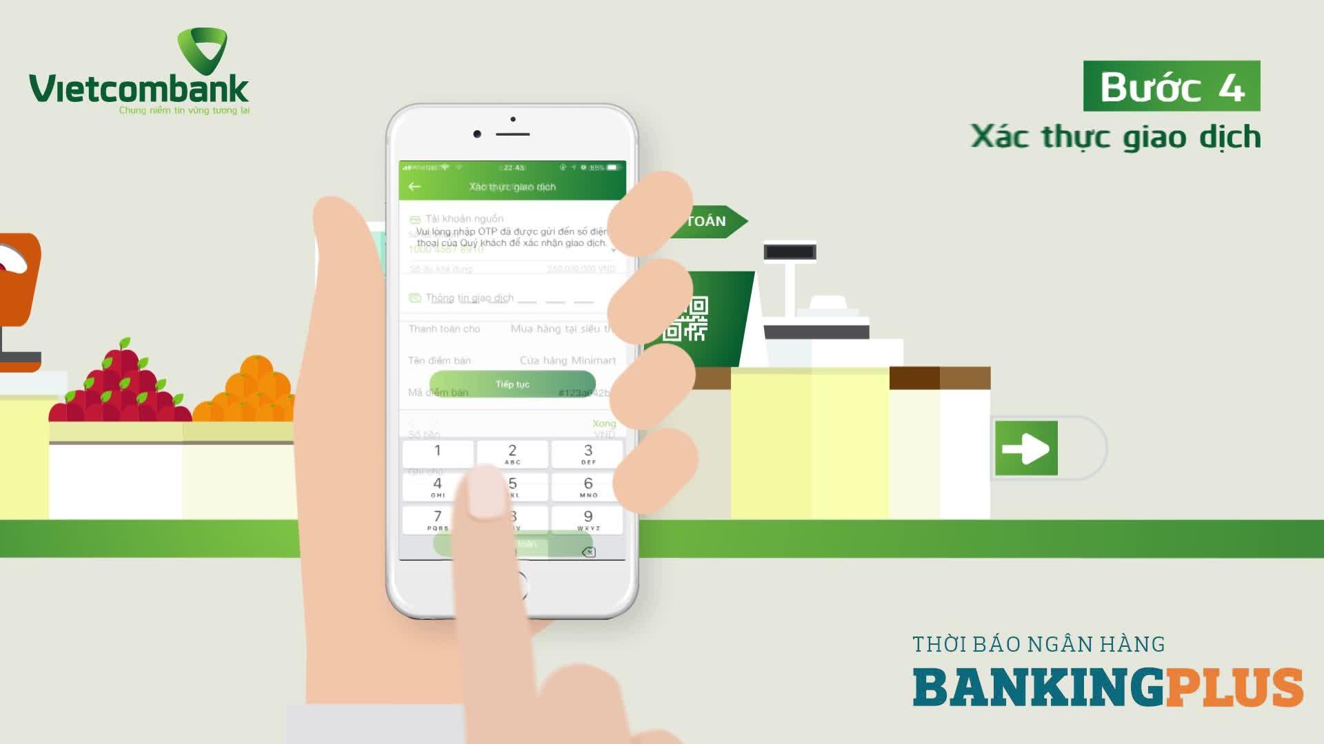 Hướng dẫn sử dụng dịch vụ QR Pay thông qua ứng dụng VCB-Mobile B@nking
