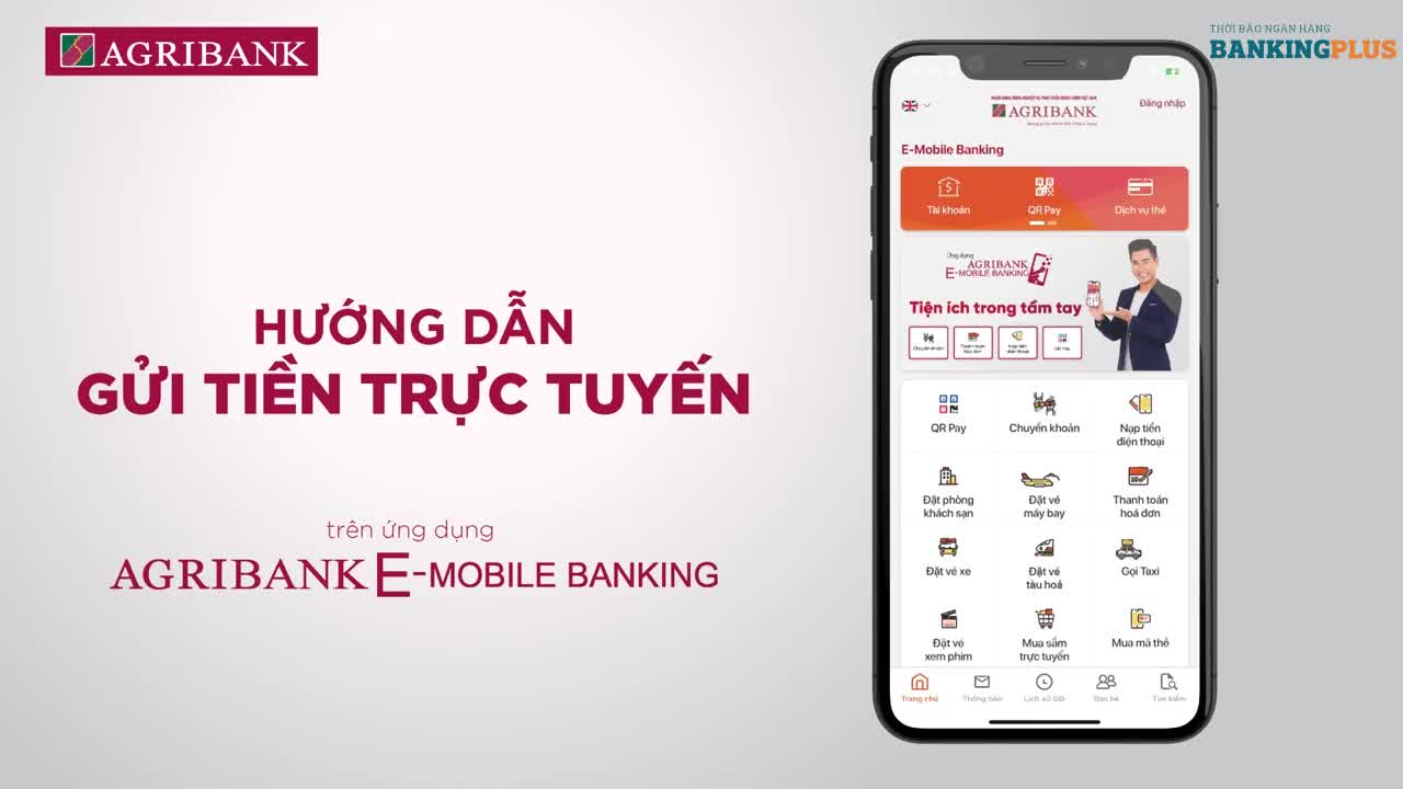 Hướng dẫn gửi tiền tiết kiệm trực tuyến trên Agribank E-Mobile Banking