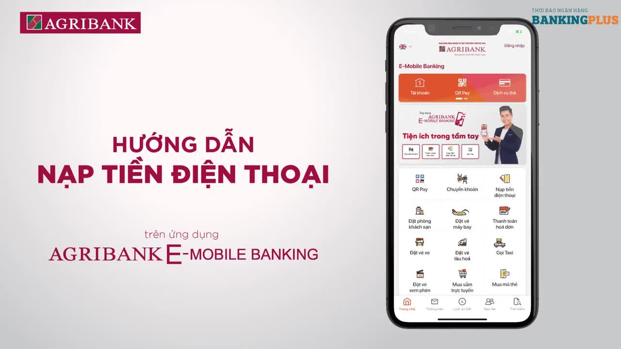 Hướng dẫn nạp tiền điện thoại trên ứng dụng Agribank E-Mobile Banking